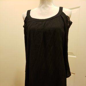 NWT Chico's Black  Gauze Lace Tunic - size 3